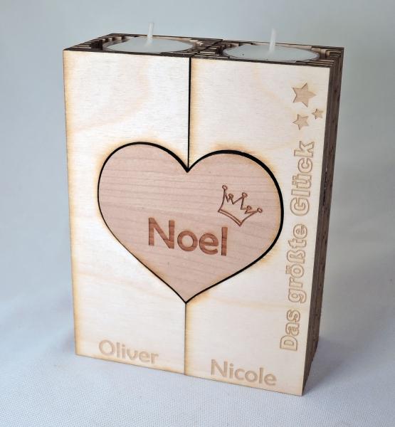 NIKKIService  Teelichthalter 2flammig Holzherz -> Holz Wanduhr Mit Gravur