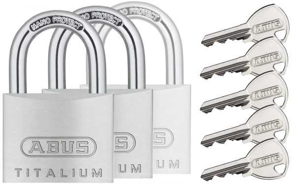 6 x Zylinderschloss-Vorhangschloss Gleichschliessend in 50 mm mit 12 Schlüssel